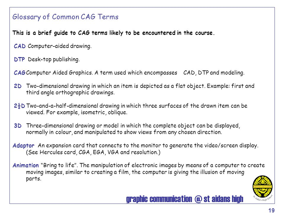 Glossary of Common CAG Terms