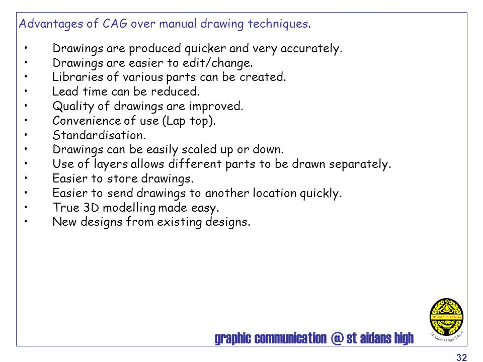 Advantages of CAG over manual drawing techniques.