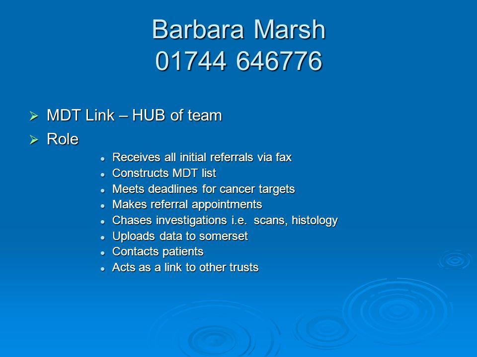 Barbara Marsh 01744 646776 MDT Link – HUB of team Role