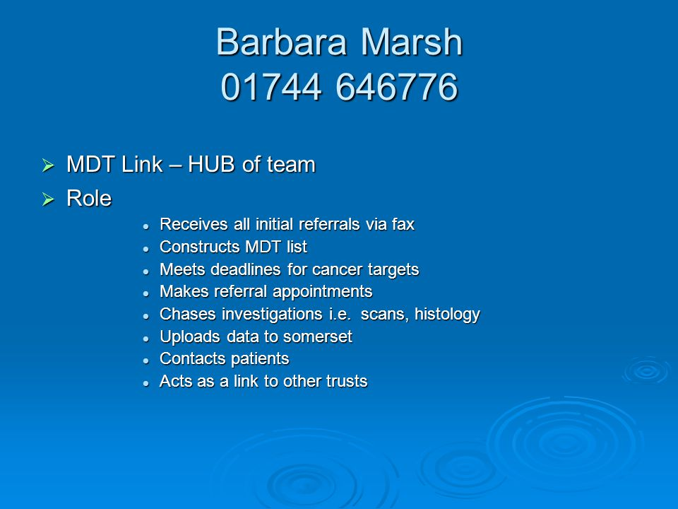 Barbara Marsh MDT Link – HUB of team Role