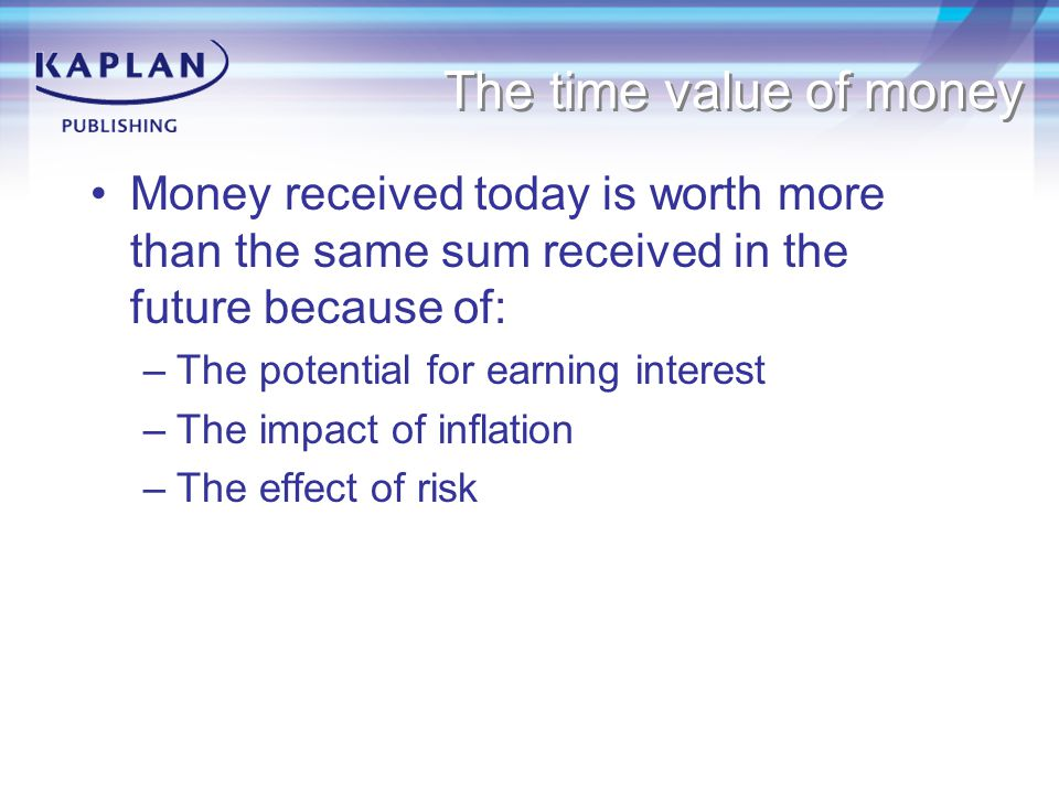 The time value of money Money received today is worth more than the same sum received in the future because of: