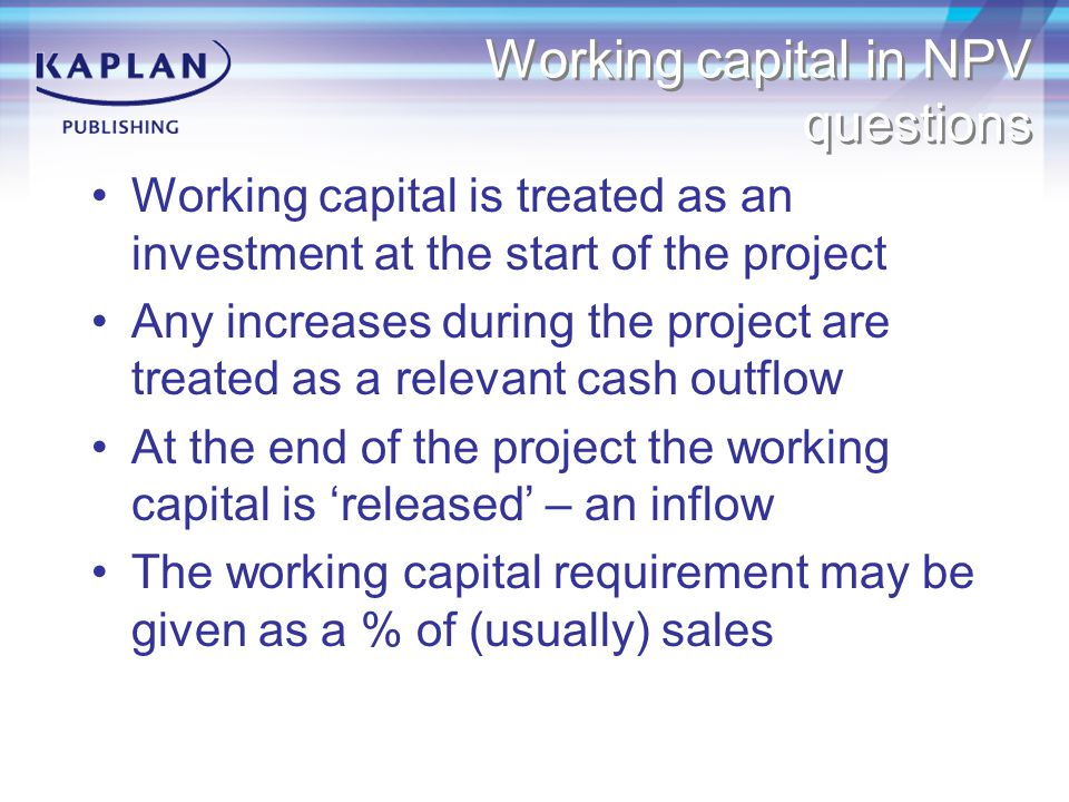 Working capital in NPV questions