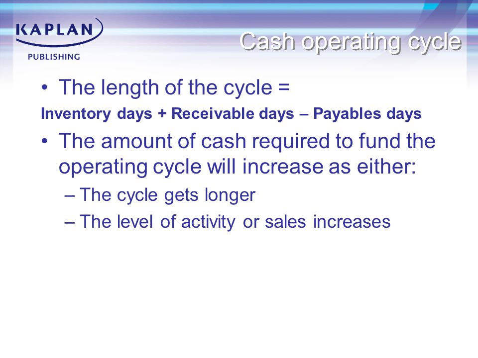 Cash operating cycle The length of the cycle =