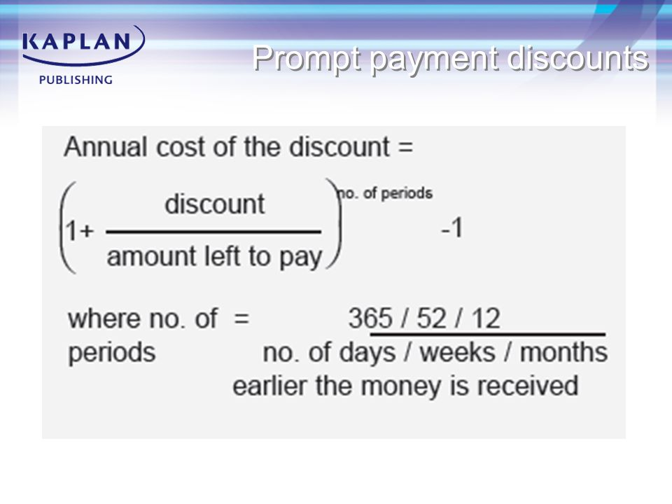Prompt payment discounts