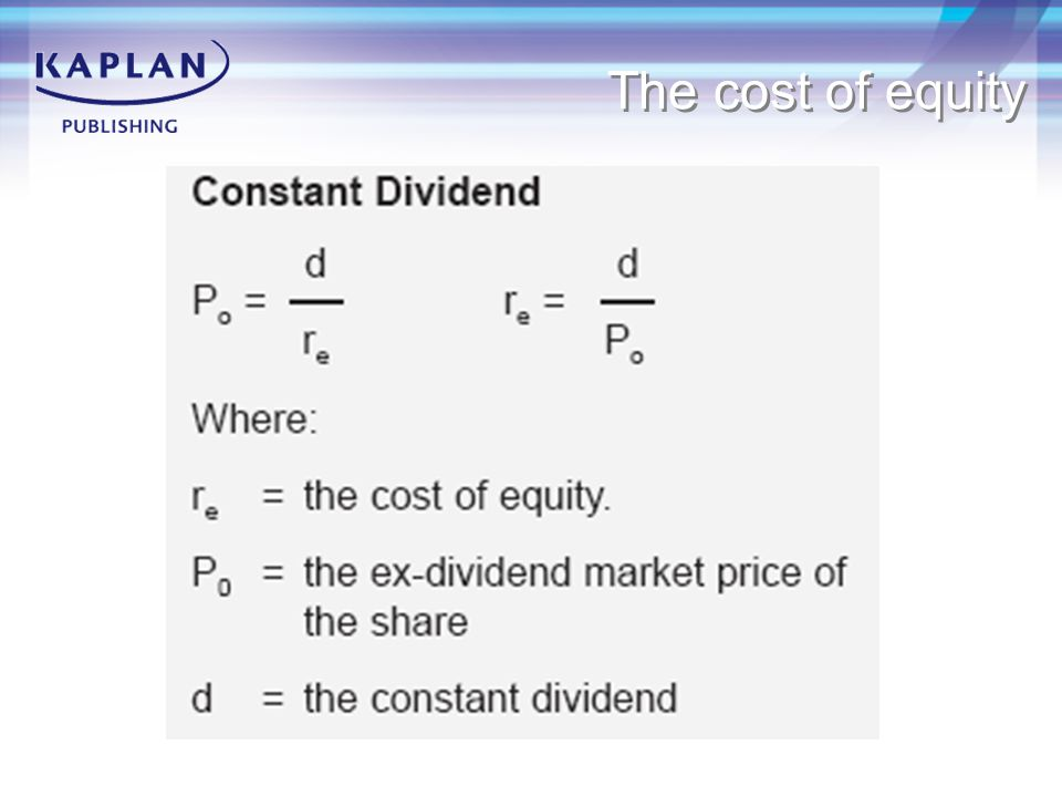 The cost of equity