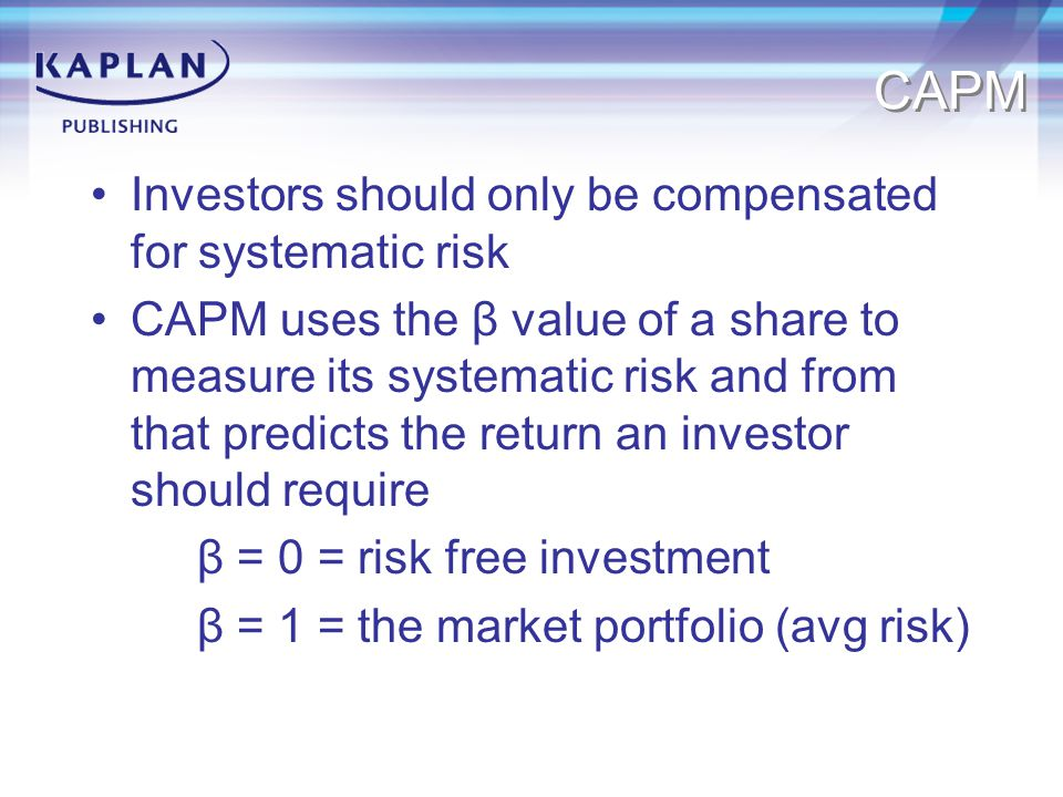 CAPM Investors should only be compensated for systematic risk
