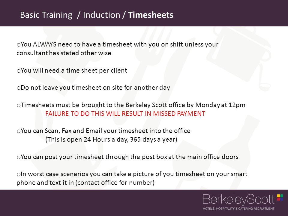 Basic Training / Induction / Timesheets