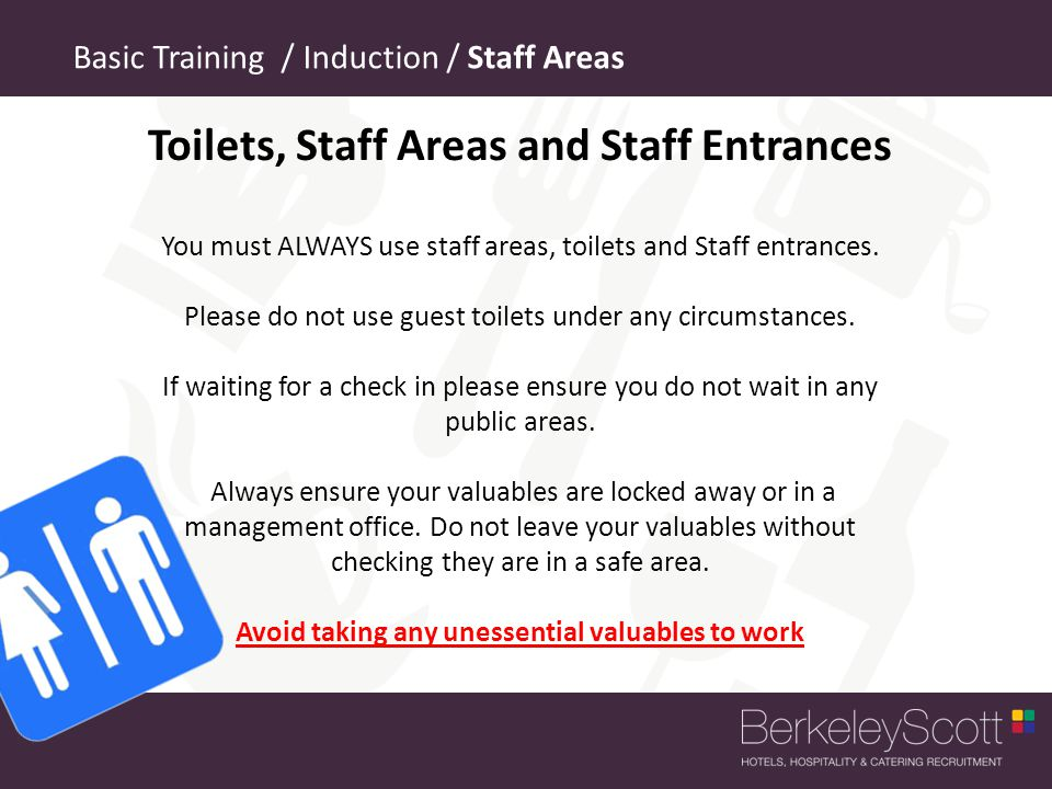 Toilets, Staff Areas and Staff Entrances