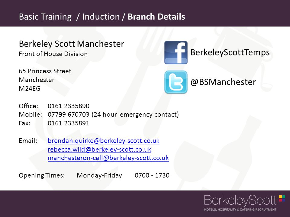 Basic Training / Induction / Branch Details