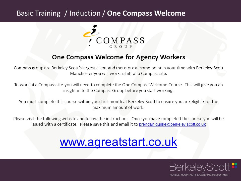 One Compass Welcome for Agency Workers