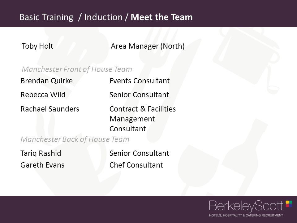 Basic Training / Induction / Meet the Team
