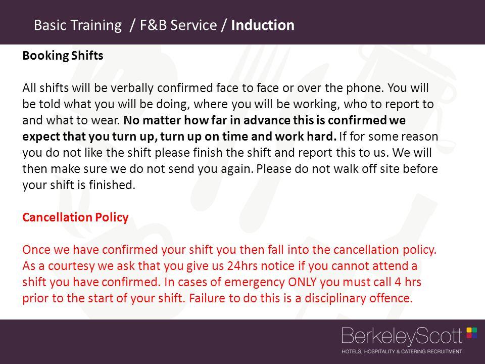 Basic Training / F&B Service / Induction