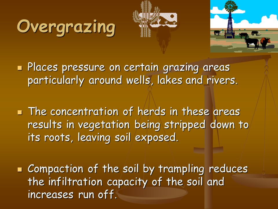 Overgrazing Places pressure on certain grazing areas particularly around wells, lakes and rivers.
