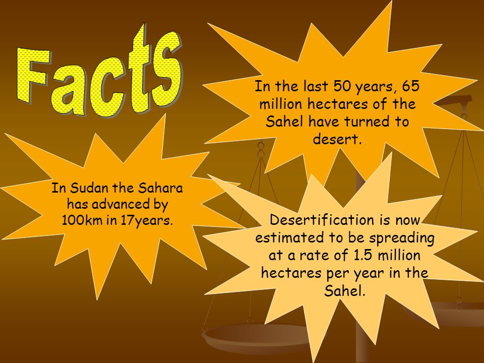In Sudan the Sahara has advanced by 100km in 17years.