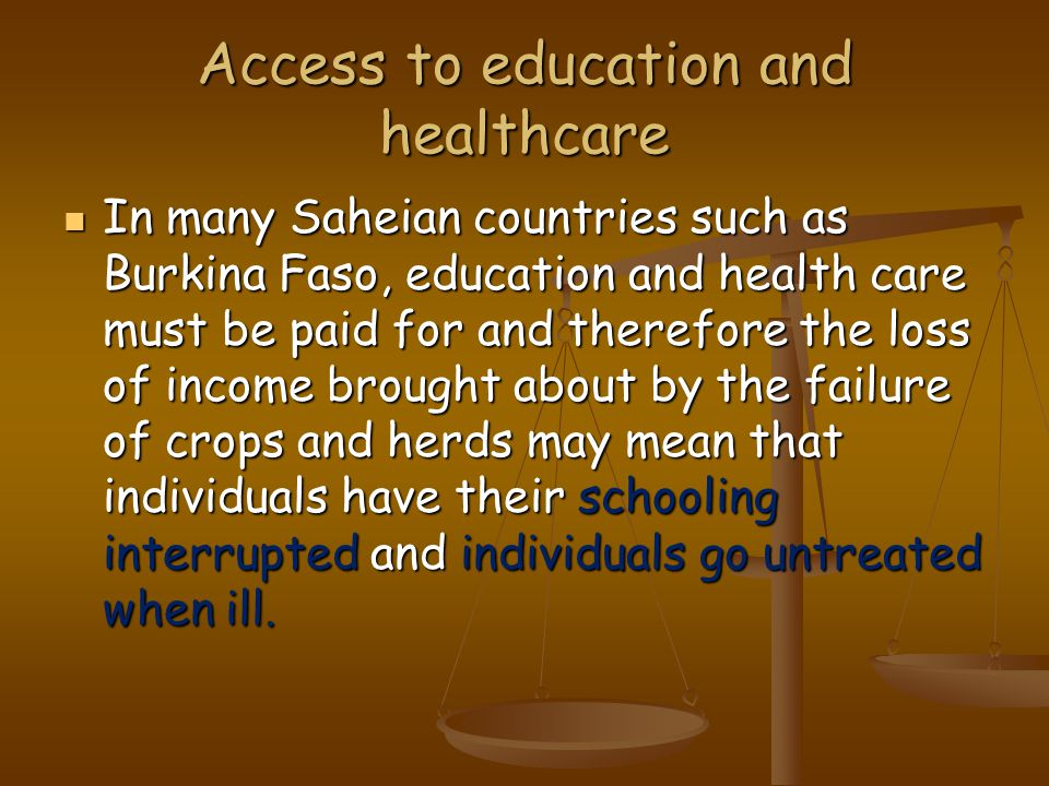 Access to education and healthcare