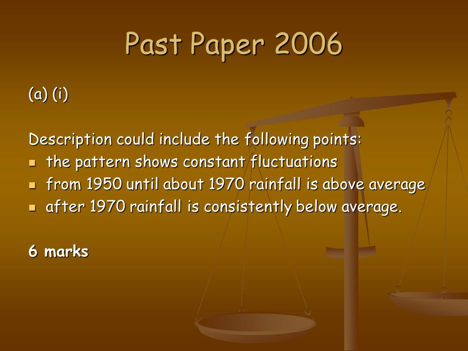 Past Paper 2006 (a) (i) Description could include the following points: the pattern shows constant fluctuations.