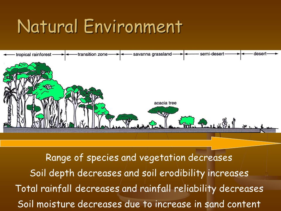Natural Environment Range of species and vegetation decreases