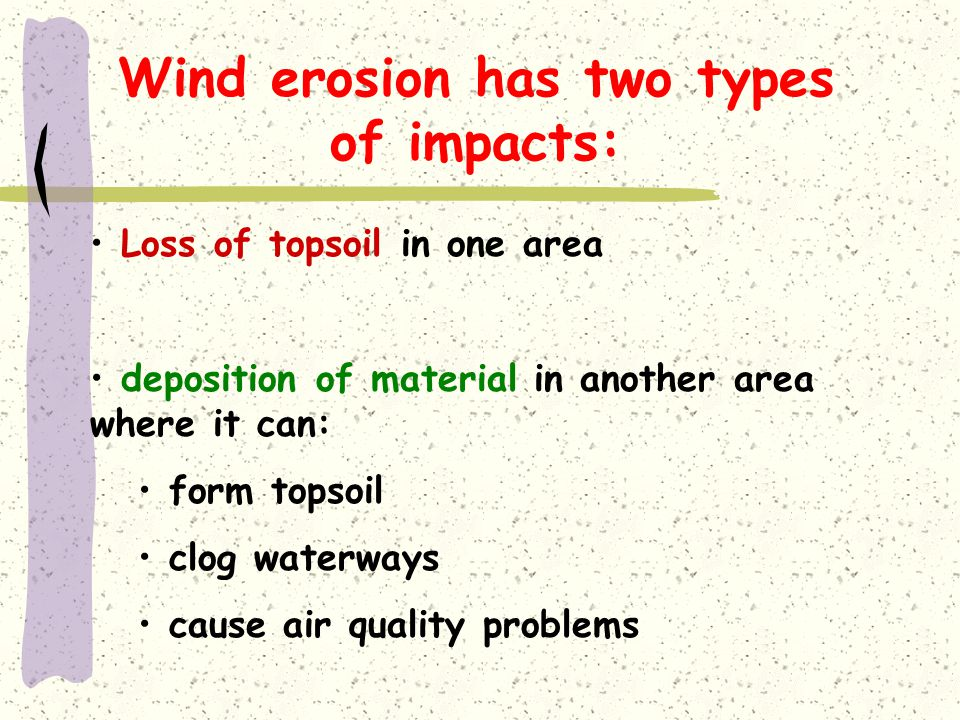 Wind erosion has two types of impacts: