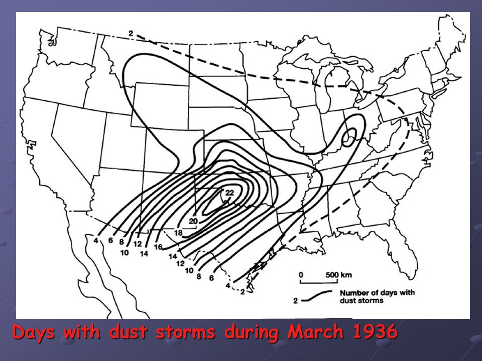 Days with dust storms during March 1936