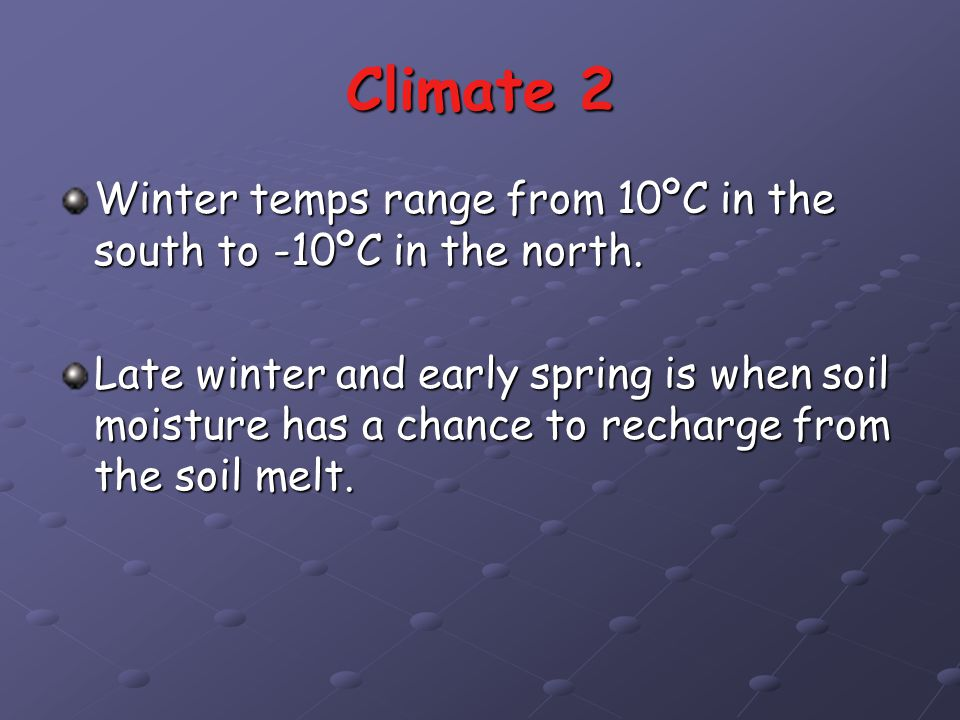 Climate 2 Winter temps range from 10ºC in the south to -10ºC in the north.