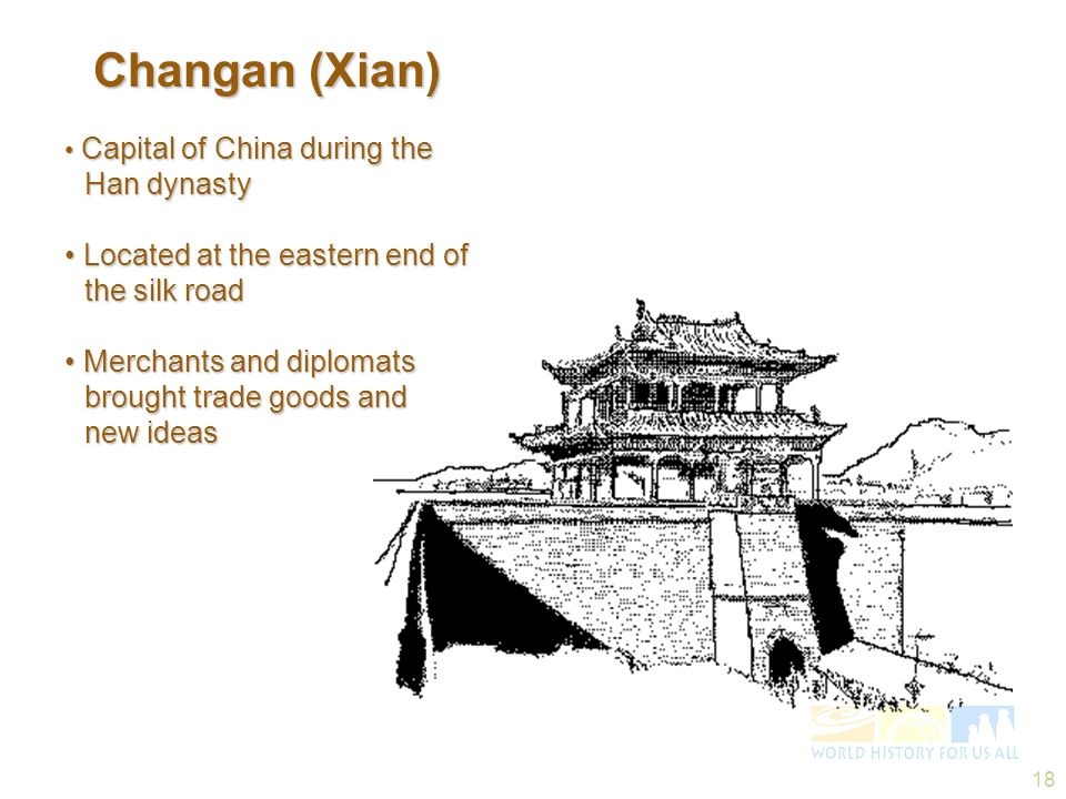 Changan (Xian) • Located at the eastern end of the silk road