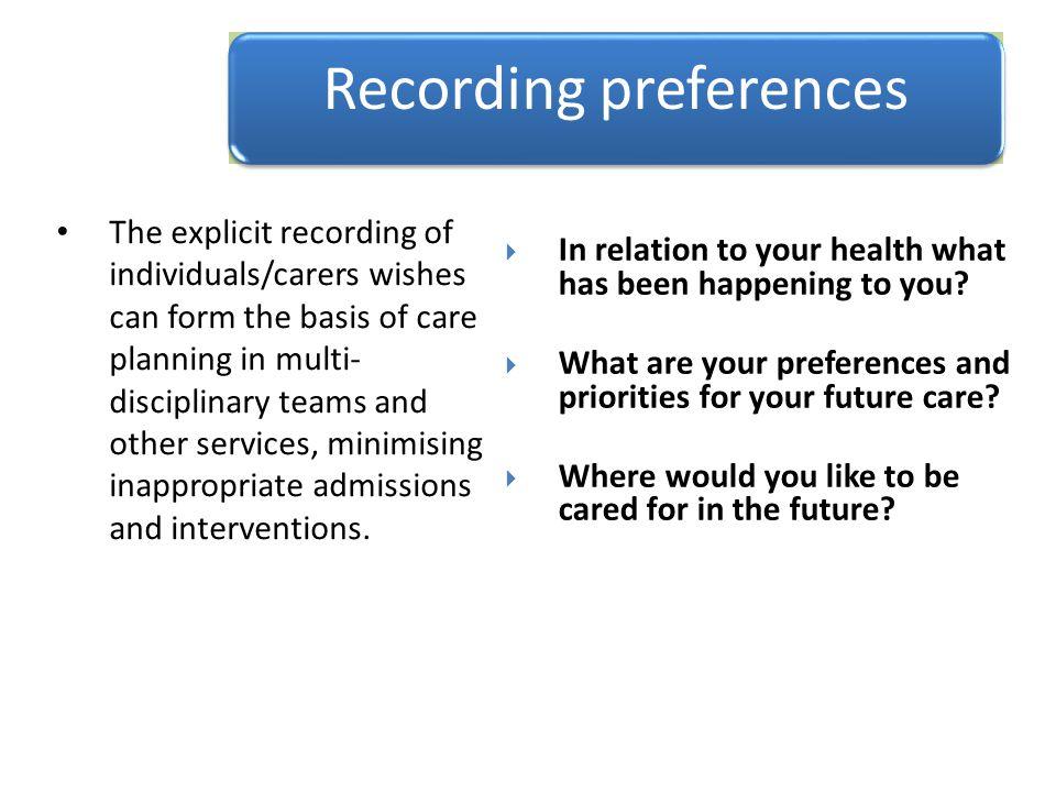 Recording preferences