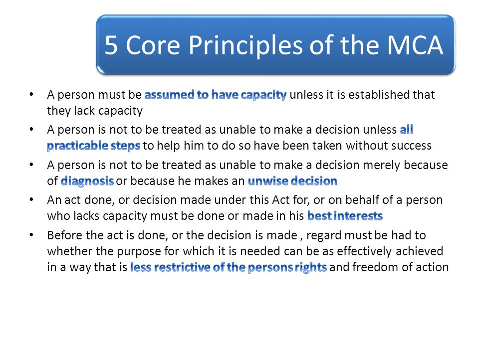 5 Core Principles of the MCA