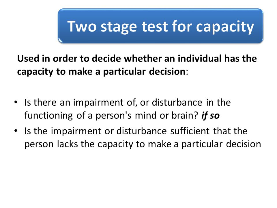 Two stage test for capacity