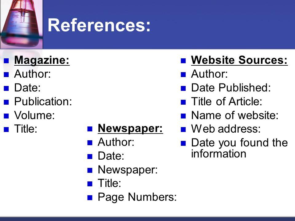 References: Magazine: Author: Date: Publication: Volume: Title:
