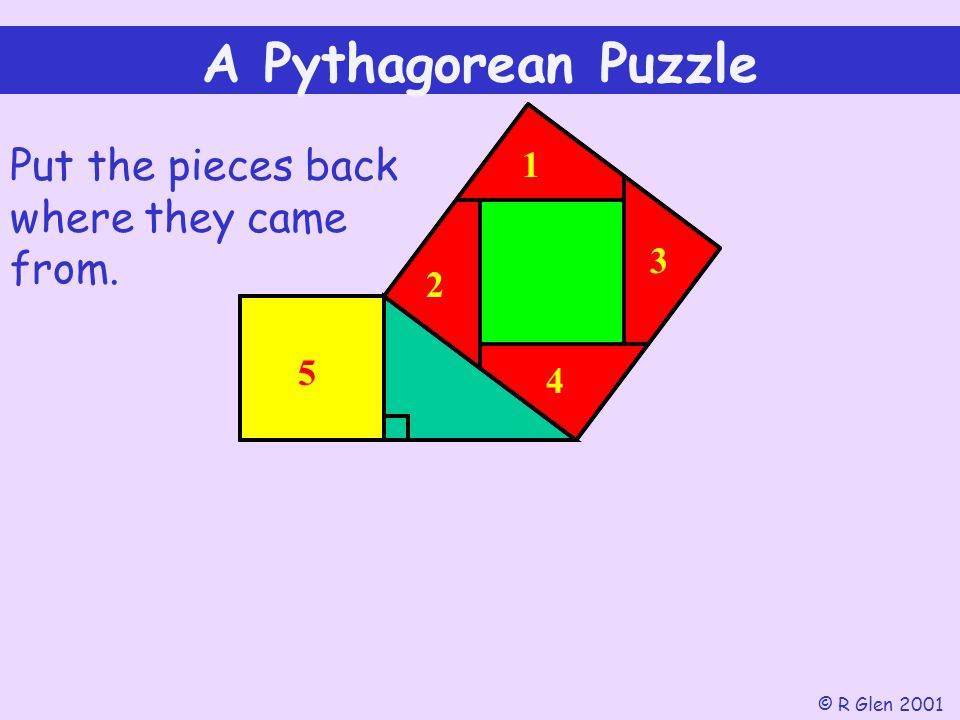 A Pythagorean Puzzle Put the pieces back where they came from