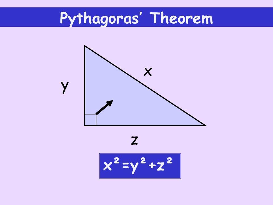 Pythagoras' Theorem x y z x²=y²+z²