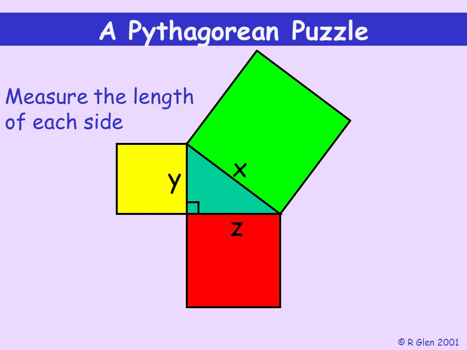 A Pythagorean Puzzle x y z Measure the length of each side