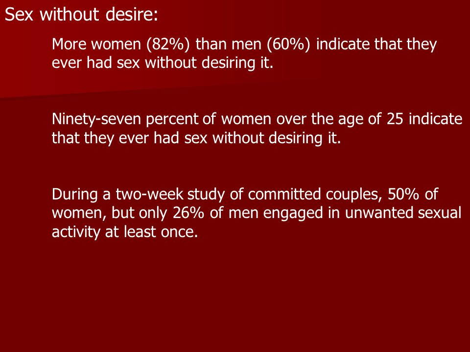 Sex without desire: More women (82%) than men (60%) indicate that they ever had sex without desiring it.