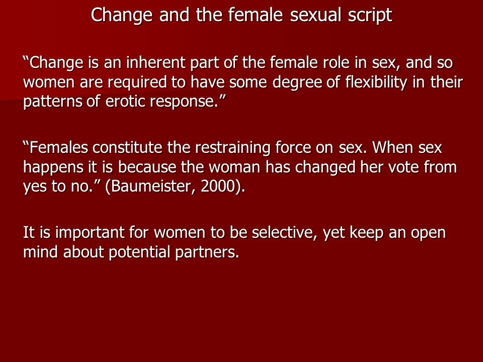 Change and the female sexual script