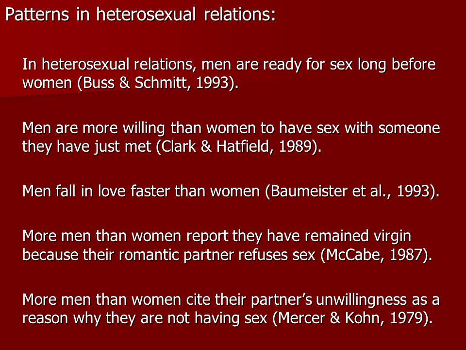 Patterns in heterosexual relations: