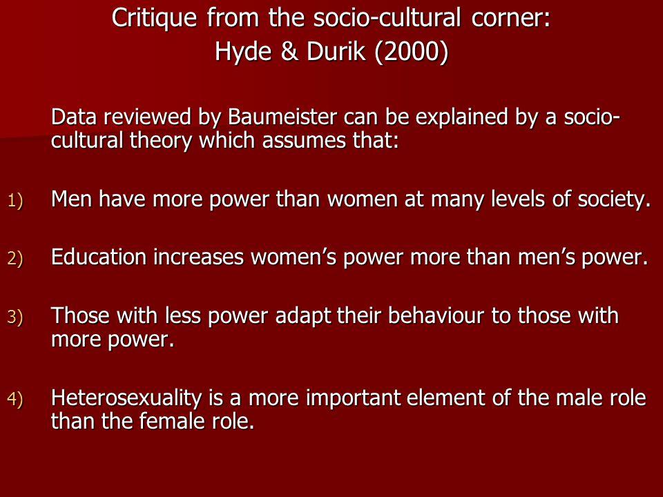 Critique from the socio-cultural corner: