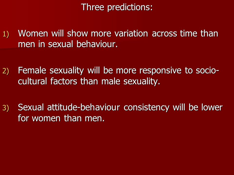 Three predictions: Women will show more variation across time than men in sexual behaviour.