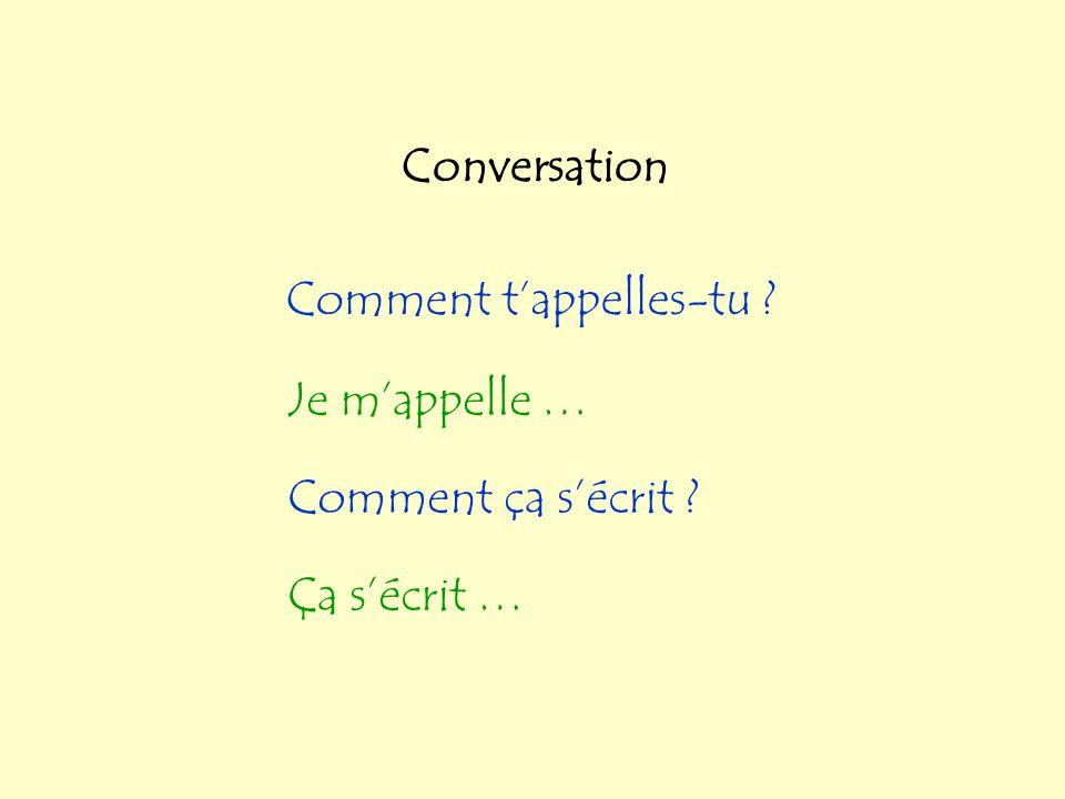 Conversation Comment t'appelles-tu Je m'appelle … Comment ça s'écrit Ça s'écrit …