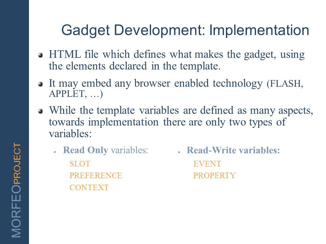 Gadget Development: Implementation