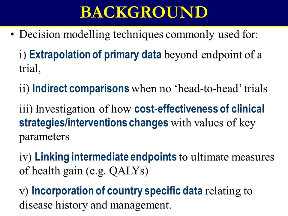 BACKGROUND Decision modelling techniques commonly used for: