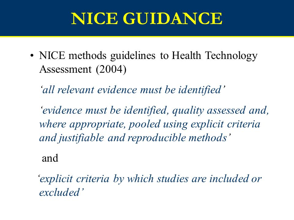 NICE GUIDANCE NICE methods guidelines to Health Technology Assessment (2004) 'all relevant evidence must be identified'