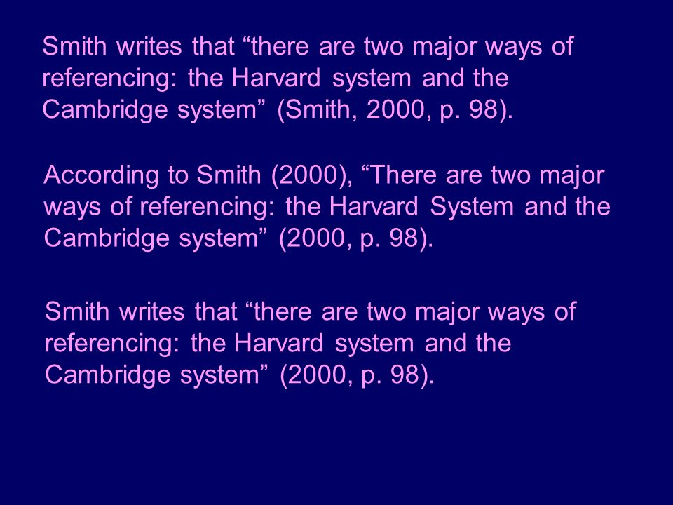 Smith writes that there are two major ways of referencing: the Harvard system and the Cambridge system (Smith, 2000, p. 98).