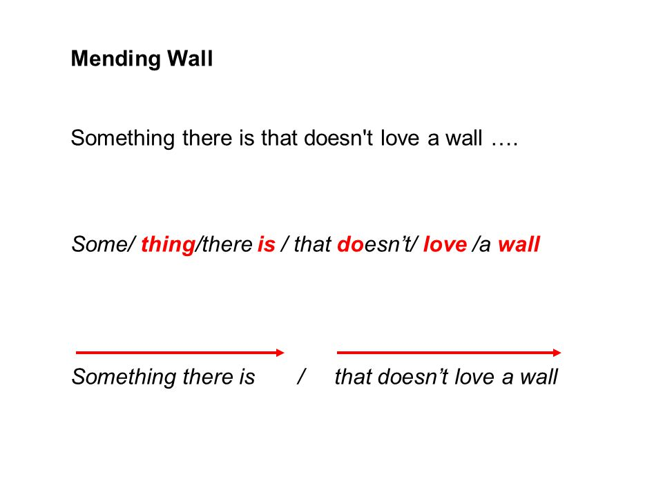 Mending Wall Something there is that doesn t love a wall …. Some/ thing/there is / that doesn't/ love /a wall.