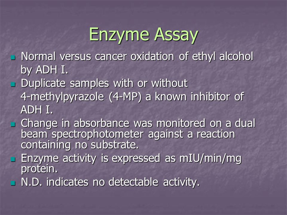 Enzyme Assay Normal versus cancer oxidation of ethyl alcohol by ADH I.