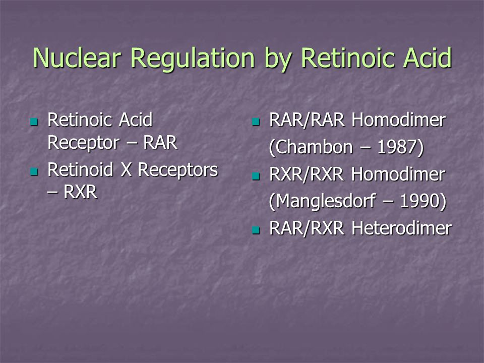 Nuclear Regulation by Retinoic Acid