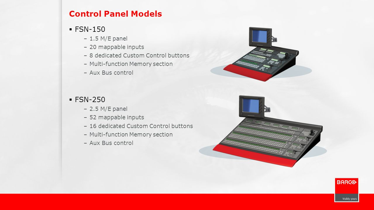 Control Panel Models FSN-150 FSN-250 1.5 M/E panel 20 mappable inputs