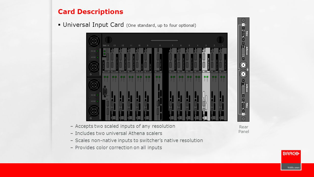 Card Descriptions Universal Input Card (One standard, up to four optional) Accepts two scaled inputs of any resolution.