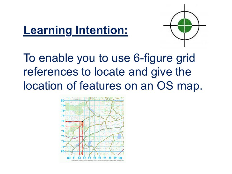 Learning Intention: To enable you to use 6-figure grid references to locate and give the location of features on an OS map.