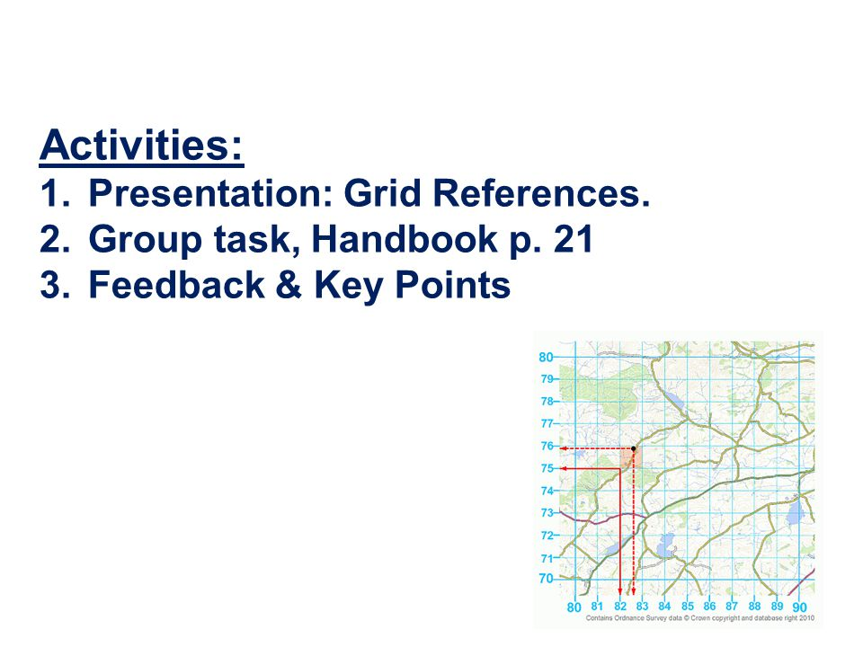 Activities: Presentation: Grid References. Group task, Handbook p. 21