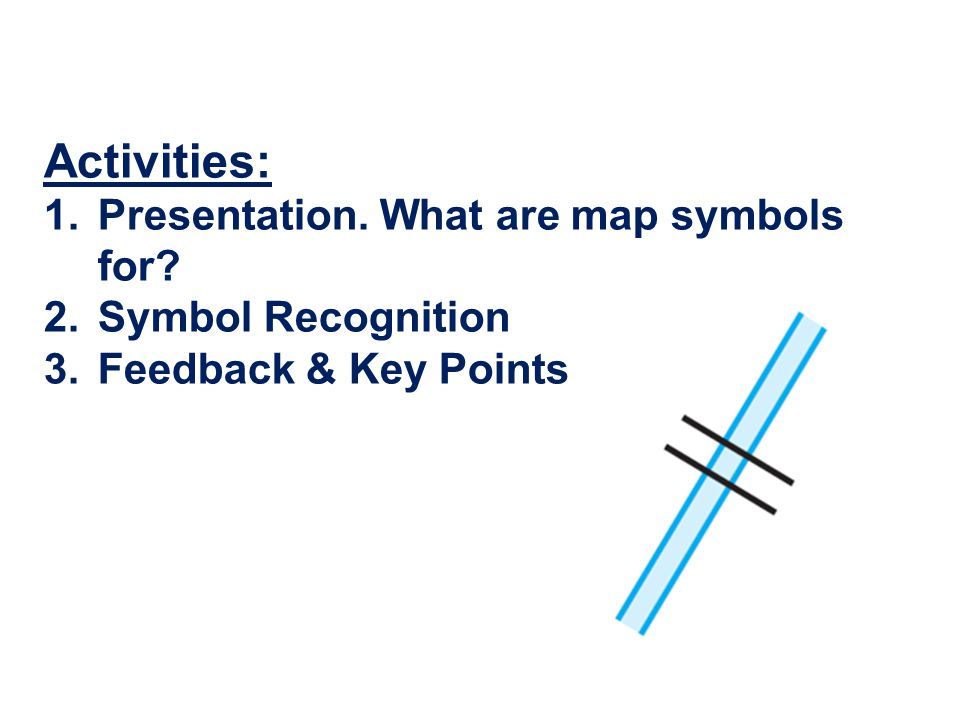 Activities: Presentation. What are map symbols for Symbol Recognition